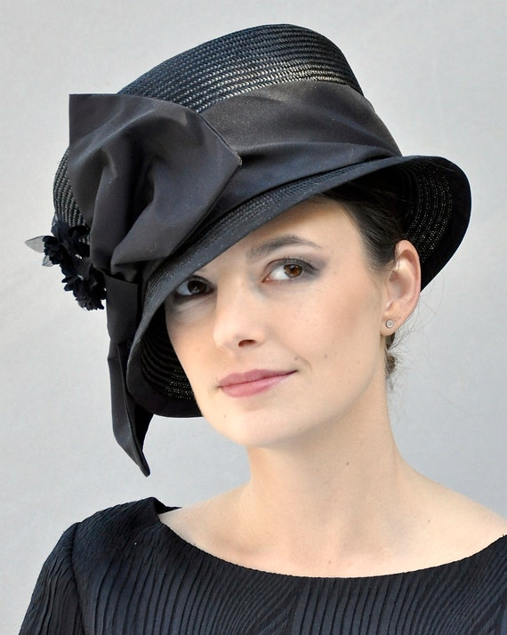 Black Hat, Formal Hat, Kentucky Derby Hat, Ascot Hat, Funeral Hat, Mourning Hat, Church Hat, Occasion hat