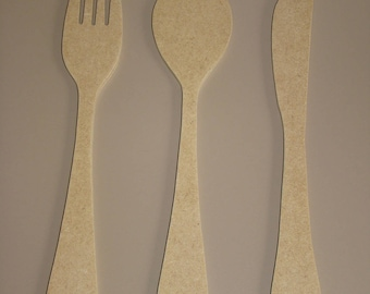 Fork, spoon, knife medium MDF wooden 28 cm customize