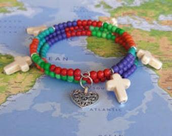 Rainbow Round Beads and Cross Charms on Memory Wire Bracelet, Wrap Bracelet, Coil Bracelet, Beaded Bracelet, Jewelry