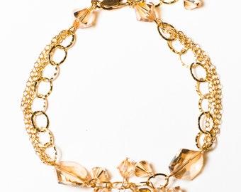 0067-Golden Shadow Swarovski Crystal Bracelet in 14kt gold filled