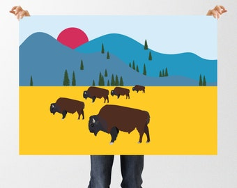 Nursery Art Bison Prairie Illustration, Printable Wall Art, Boys Bedroom Print, Digital Download, Buffalo, Mountains American Wild Animals