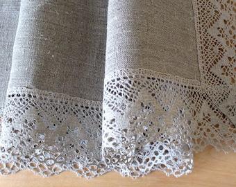 "Linen Tablecloth Vintage Tablecloth Burlap Square Prewashed Natural Gray Linen Lace 42"" x 42"""