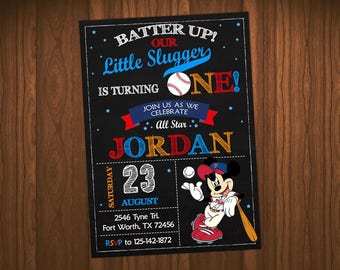 Mickey Mouse Baseball Invitation, Mickey Mouse Baseball Birthday, Mickey Mouse Baseball Party