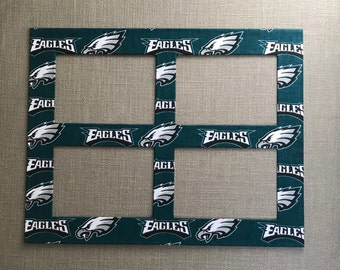 Sports Fan Photo Mat Made With Philadelphia Eagles Fabric (for 11 x 14 frame with four openings for 4x6 photos)