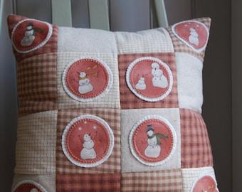 Rustic Snowman Cushion, Rustic Snowman Pillow, Festive Decoration, Cushion Cover, Pillow Cover, Christmas Cushion, Applique Cushion,