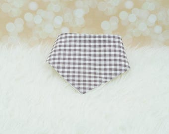 60% OFF SALE! Baby Bandana Bib (Medium Grey Gingham)  ||| bibdana, dribble bib, bandana bib sale, bibdanna, baby bibdana, baby shower