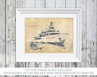 Sailboat Nautical Poster #3 Print Sailing vessel Print Coastal Wall Art Beach House Decor Bathroom Art Wall Décor