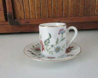 Andrea by Sadek Buckingham Demitasse Cup & Saucer – Multicolor Floral Small Cup and Saucer – Vintage Dinnerware