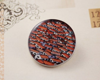 Women's round resin and silver back brooch, city village print badge, orange and white (new, handmade, handcrafted, art, Japan, flowers)