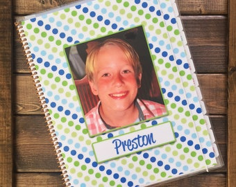 Kid Planner in Blue Dots, School Planner, Personalized Planner, School Supplies, Picture Planner