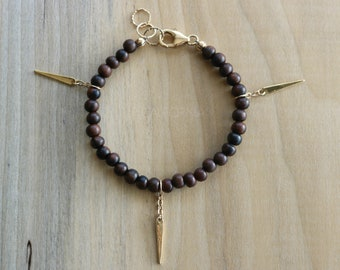 Tiger Ebony Wood Beaded Bracelet, Gold Spike Charm Bracelet, Boho Layering Bracelet