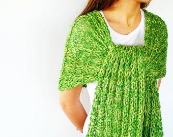 Bufanda de verano verde   Chal de punto de algodón   Bufandas tejidas a mano   Chales tejidos a dos agujas   Bufandas para mujer