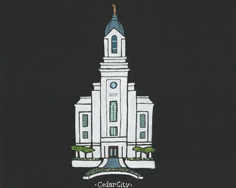 Cedar City LDS Temple acrylic painting 8x10
