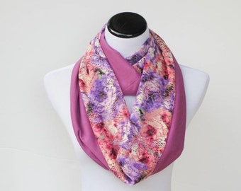 Lace infinity scarf reversible Bohemian jersey knit scarf floral pink purple fucsia feminine loop scarf gift for Mothers day and birthday