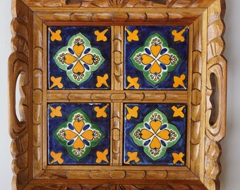 Mexican Rustic Hand Painted Tile Serving Tray Carved