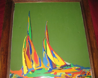 """OIL PAINTING SAILBOATS-Bright Colors-Antique Frame 26"""" X 30"""""""
