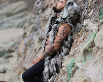 DREAM Of FALCON - Burning Man Fur Vest Festival | Costume Playa Outfit BOHO coats