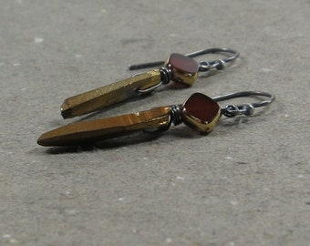 Gold Vintage Glass Earrings Quartz Points Oxidized Sterling Silver Gift for Her
