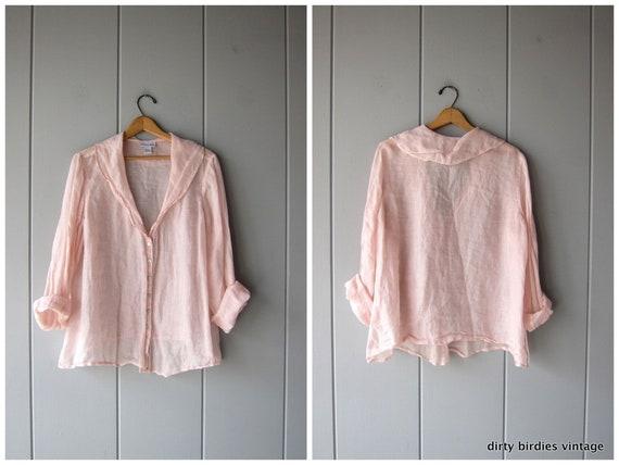 Oversized Light Pink Blouse Sheer Fabric Button Up Blouse Slouchy Long Sleeve Shirt Minimal Vintage 90s Airy Billow Top Womens XL