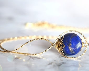 Lapis lazuli necklace, 18K gold filled infinity necklace, September birthstone necklace, blue lapis necklace, girlfriend gift, for women