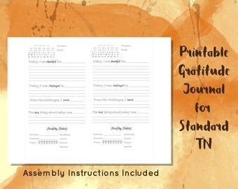 Printable Gratitude Journal // Standard TN Size // Gratitude Diary // Self Care Journal // Mindfulness Journal // Gratitude Printable