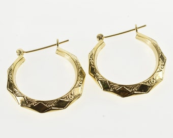 14K Ornate Patterned Squared Design Boho Hoop Earrings Yellow Gold