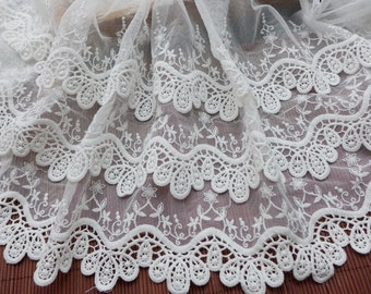 3 layers scalloped cotton lace in off white for weddings, skirts, cuffs, quiltting, home decor