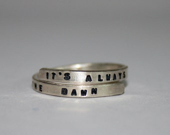 Florence and the Machine SIlver Lyric ring. 'It's always darkest before the dawn' Sterling Silver 925 -Adjustable