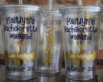 Girls Canoe Lake Bachelorette Party Tumbler Cup / Canoe Trip / Canoeing
