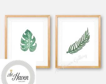 Watercolor Leaf, Monstera Leaf Print, Tropical Wall Art, Palm Leaf Print, Leaf Wall Art, Monstera Leaf PRINTABLE, Tropical Palm Leaf Print