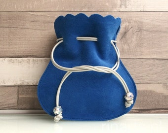 Drawstring pouch / bag / drawstring purse  in blue suede lambskin  SALE 15% off