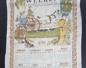 1891 Vintage Antique Calendar Kitchen Hand Tea Towel - Harper's Weekly Dish Towel Vintage Kitchen Towel