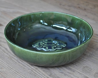 FREE SHIPPING WORLDWIDE! Large Green Handcrafted Pottery Bowl, Ceramic Fruit Serving Platter, Stamped Plate, Home Decor, Gift
