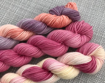Mini skein set of hand dyed yarn (75 super wash merino 25% nylon) 4 ply / fingering weight 3 x 20g