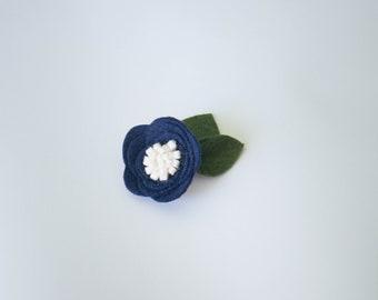 Navy and White Felt Flower, Clip or Headband, Handmade