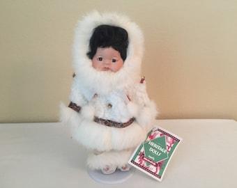 Heritage Porcelain Eskimo Doll on Stand