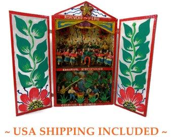 Vintage Peruvian Retablo Elaborate Hand Made Folk Art Diorama