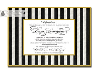 Black & Gold Graduation Invitation Striped Formal Elegant Script Celebration Typography FREE PRIORITY SHIPPING or DiY Printable - Loreen