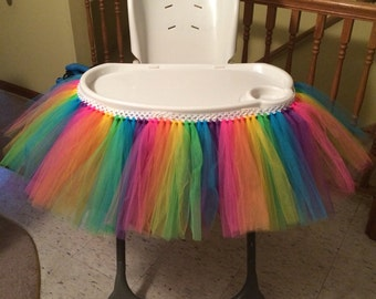 Rainbow High Chair Tutu for Birthdays and Special Occasions!!