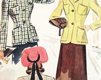 Vintage 1940s Jacket Pattern - McCall 4198 - Misses Jacket in 2 Variations - SZ 14/Bust 32