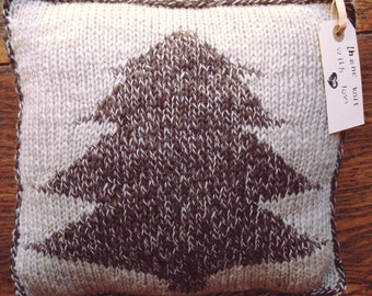 Hand Knit Rustic Tree Pillow