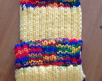 Yellow Stripe Knit Scarf