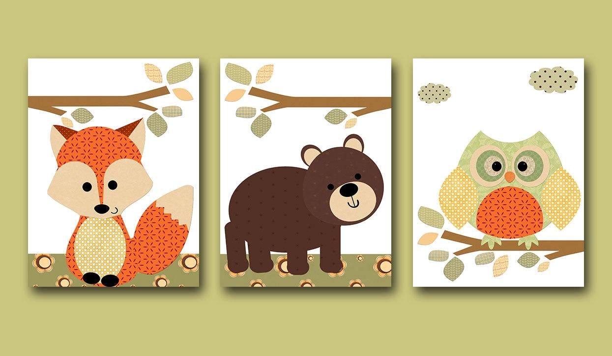 owl nursery fox nursery baby nursery decor neutral nursery. Black Bedroom Furniture Sets. Home Design Ideas