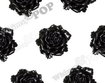6 - Large Black Bloomin' Rose Cabochons, Rose Shaped, Rose Flatback, Flat Back Cabochons, Large Rose Cabochons 24mm (R6-028)
