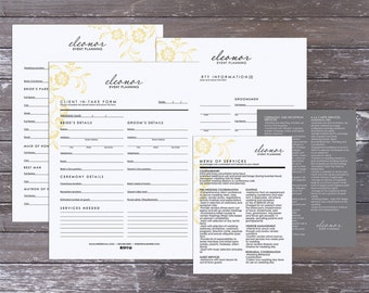 Eleonor wedding event planning client intake set  - Instant download