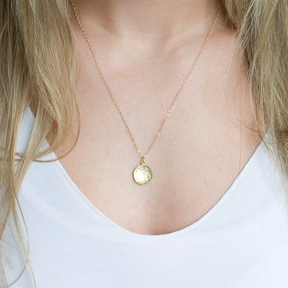 Delicate Hammered Gold Coin Pendant