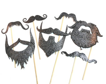 Photo Booth Props - Set of 7 Deluxe Beards & Moustaches  Photo Booth Props