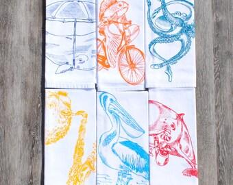 Dinner Napkins - Screen Printed Cotton Cloth Napkins Set of Six - Nautical Theme - Cloth Washable Reusable Eco Friendly