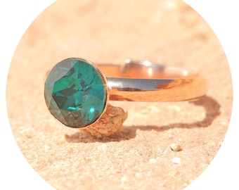 artjany ring emerald Rosé gold