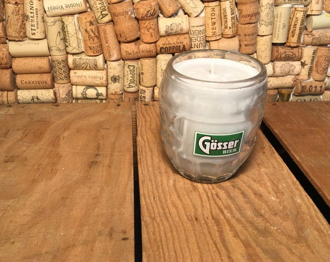 Vintage Gosser Beer Mug with a Leather scented soy candle